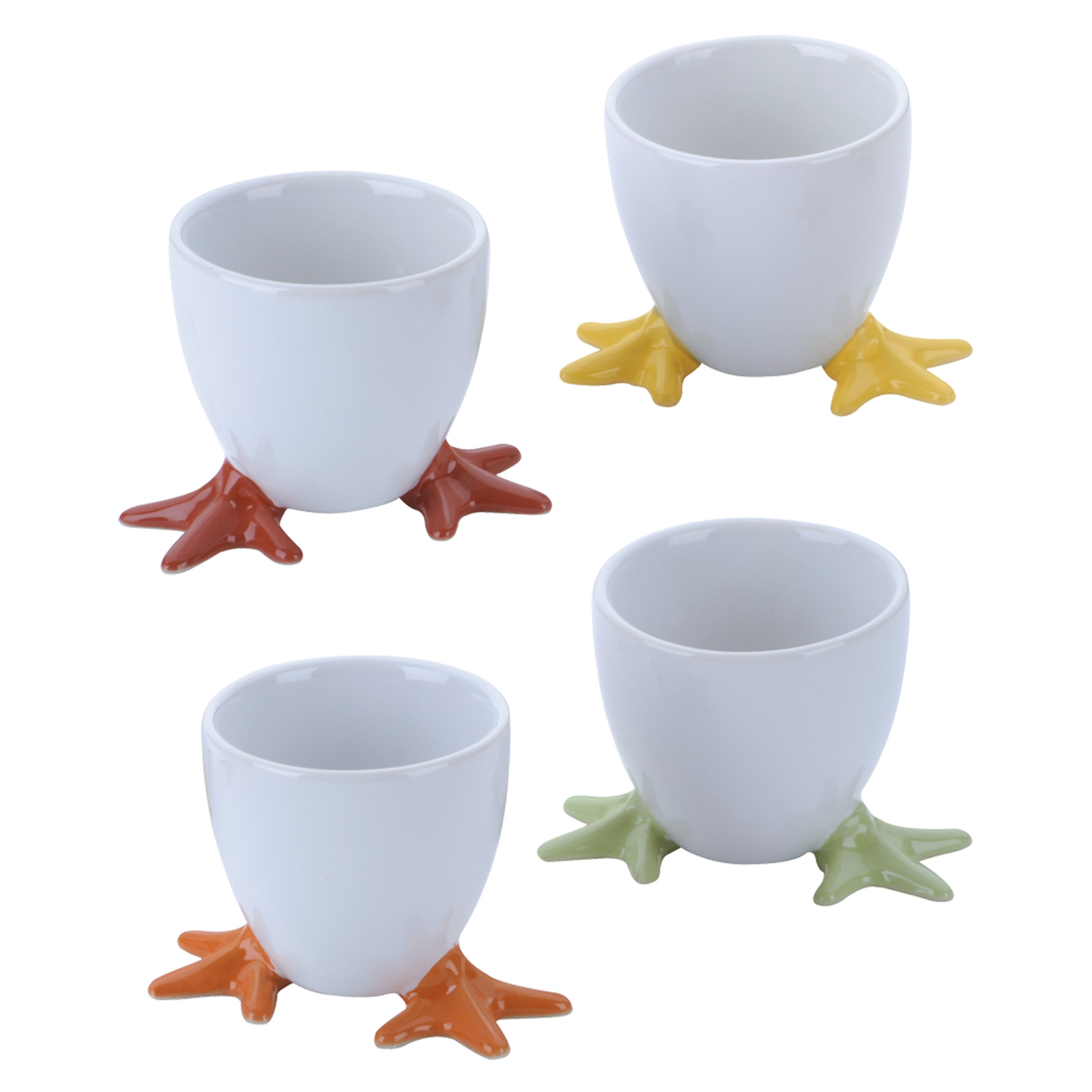 Set of 4 Chicken Feet Egg Cups Assorted Colours