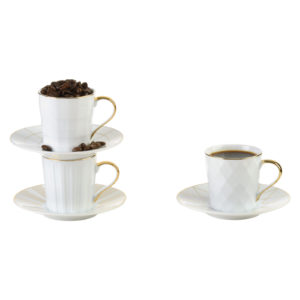 Set of 3 Lux Espresso Cups & Saucers Gold