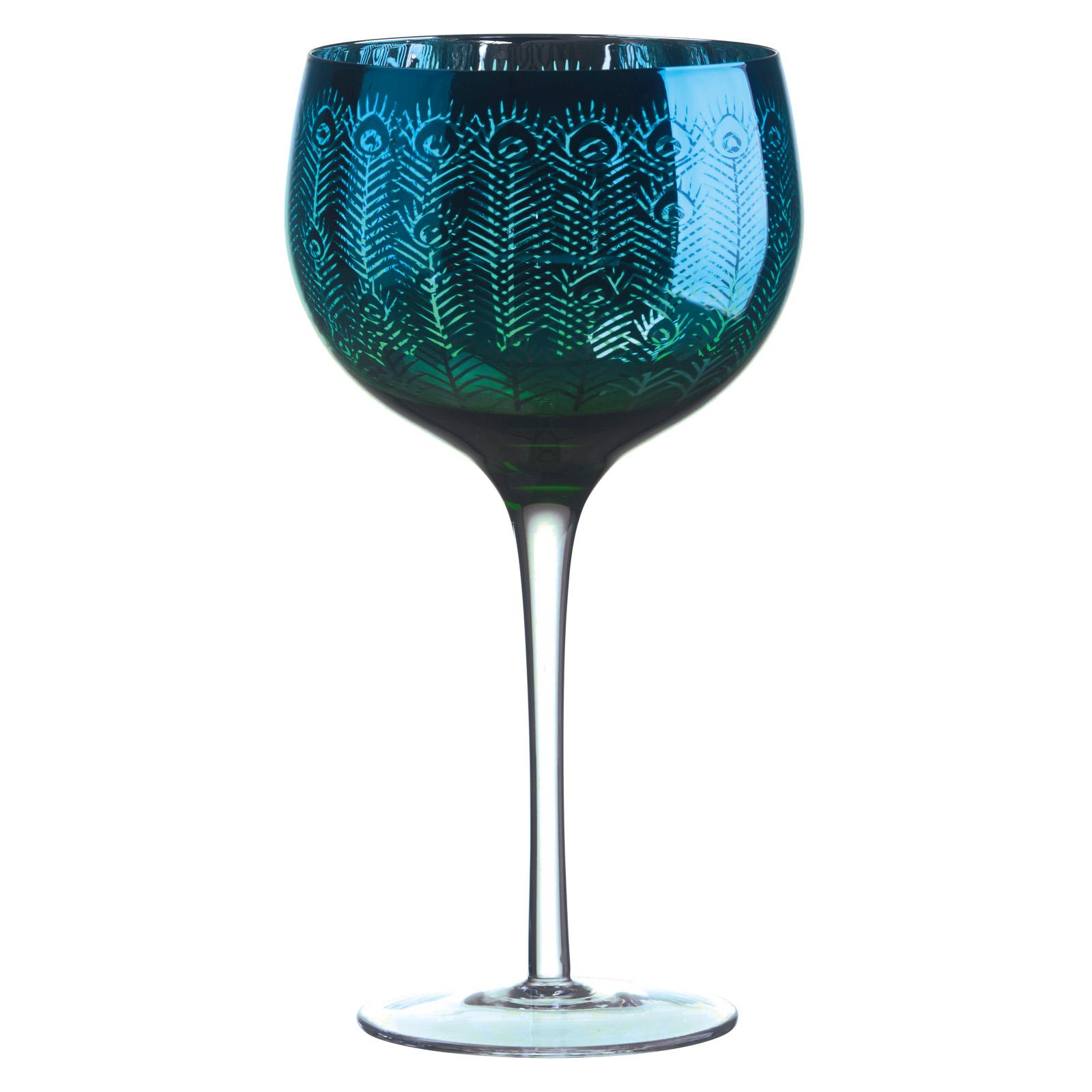 Set of 2 Peacock Gin Glasses