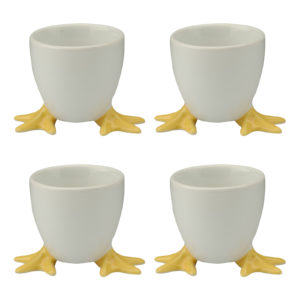 Set of 4 Chicken Feet Egg Cups with Yellow Feet