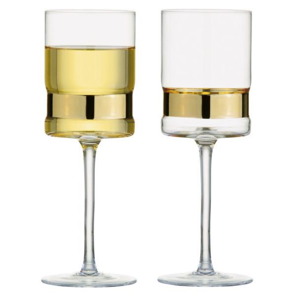 Set of 2 SoHo Wine Glasses Gold