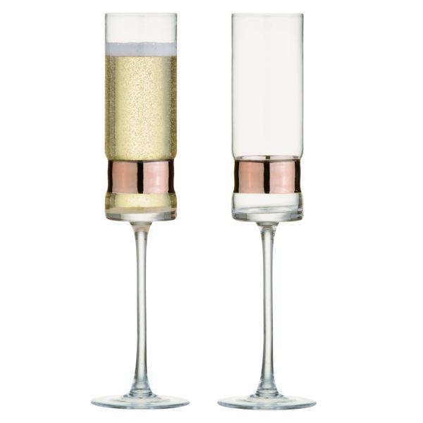 Set of 2 SoHo Champagne Flutes Bronze
