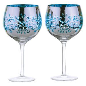 Set of 2 Filigree Gin Glasses Blue