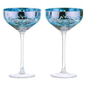 Set of 2 Filigree Champagne Saucers Blue